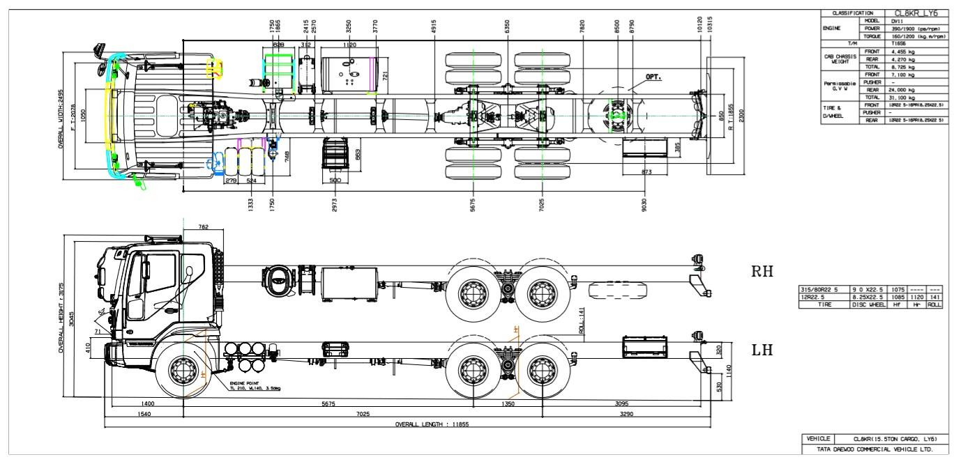 Чертеж шасси DAEWOO NOVUS CL8CF / CL8KR 6x4 31.0т